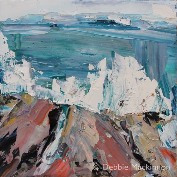 Ocean Spray is an image of an oil painting with large white waves and ocean spray crashing over the rocks by Sydney artist Debbie Mackinnon