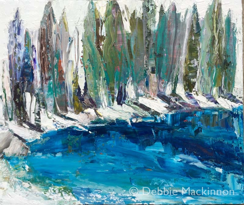 TAKE THE PLUNGE image of oil painting with large trees and a lake