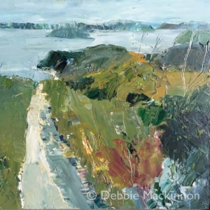 PATH TO THE SEA is a landscape painting by Debbie Mackinnon with deep green grass, a sand path, trees and distant rocks and blue sky above