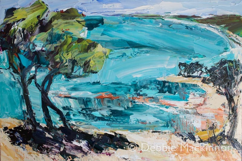 oil painting of a tree by water on a beach by Sydney artist Debbie Mackinnon