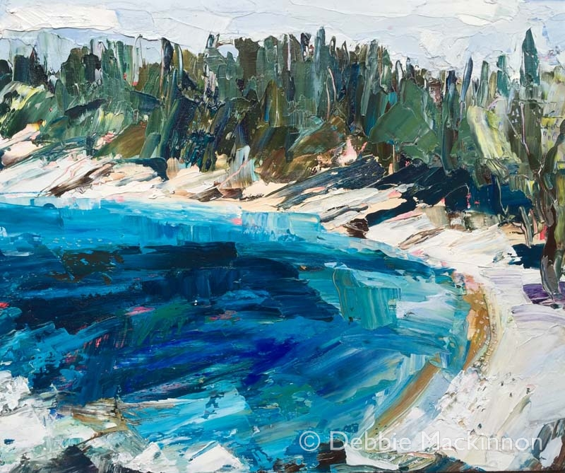 In Deep is an image of an oil painting with large green trees and a deep blue lake by artist Debbie Mackinnon